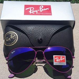 Brand New All Purple RayBan Aviators 62mm